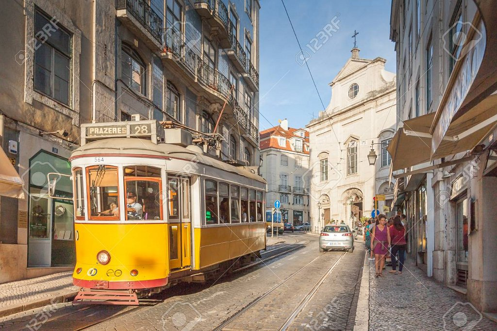 LISBON,PORTUGAL - OCTOBER 12,2012 : Romantic Lisbon street with